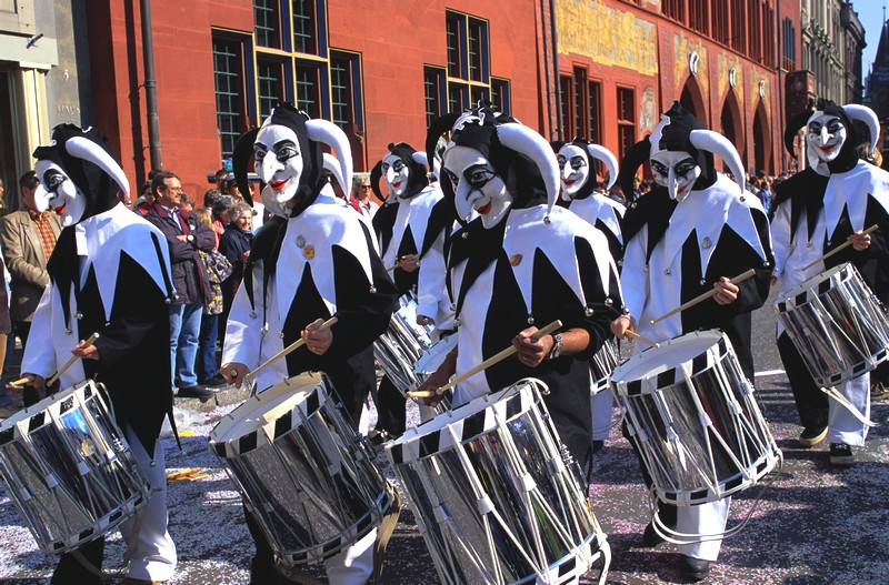 Drumming Jesters at Fasnacht Festival