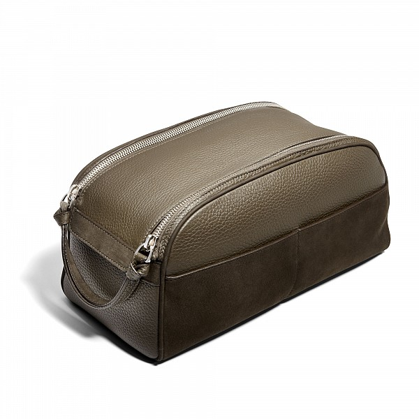 $1,050 Asprey GMT Wash Bag in carbon sueded bullskin with a double zip opening
