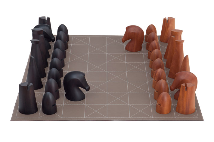 Hermes SS 2012 collection - Chess Set in Rosewood, Mahogany and Clemence Taurillon