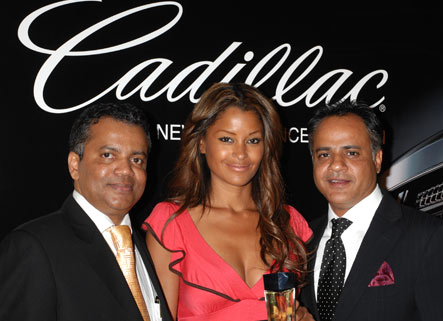 Beauty Contact President and Developer of the Cadillac Fragrance, Alwyn Stephen, Claudia Jordan, and Sanjay Bawa, Director Sales for N America- Beauty Contact Inc.