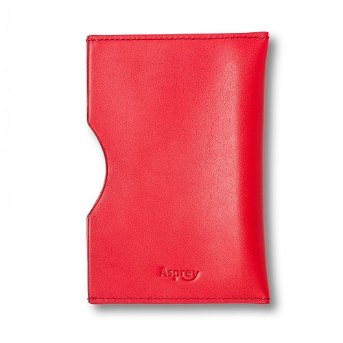 $215 Asprey Passport Sleeve in red English saddle leather with hand finished stitching