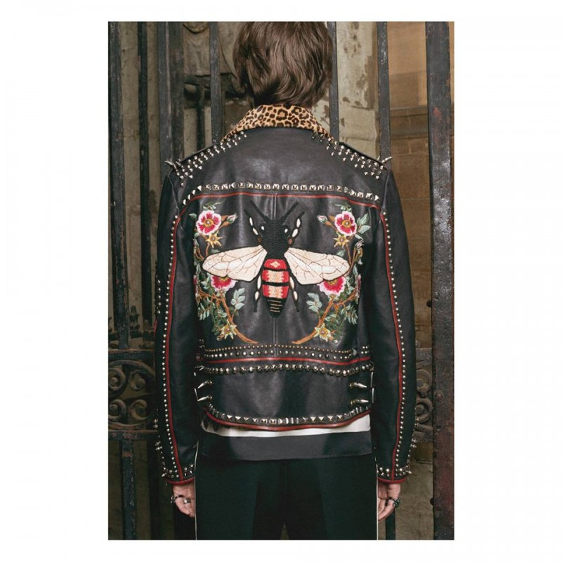 A leather biker jacket with studs and hand-painting by Alessandro Michele can be customized with types of leather and patch initials courtesy of Gucci DIY.