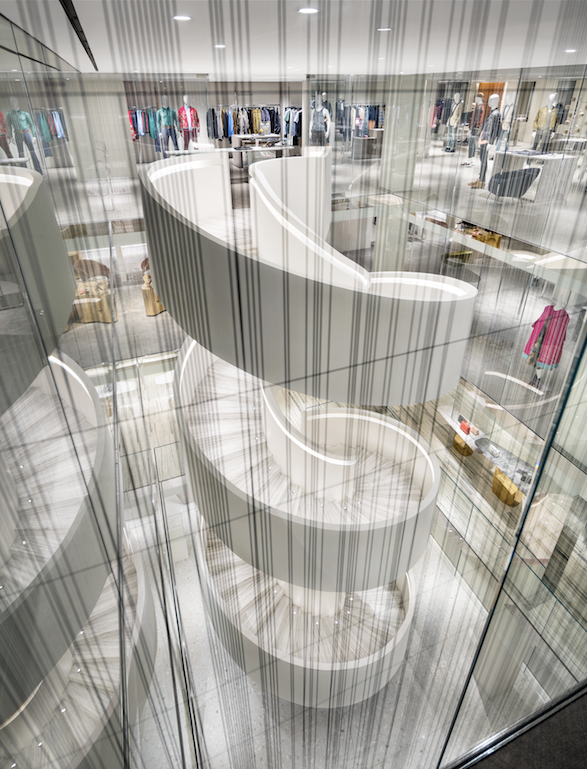 A look at the spiral staircase at the new Barneys New York downtown flagship store.