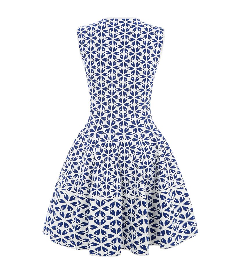 Alexander McQueen Cut Out Flower Jacquard Fit And Flare Dress