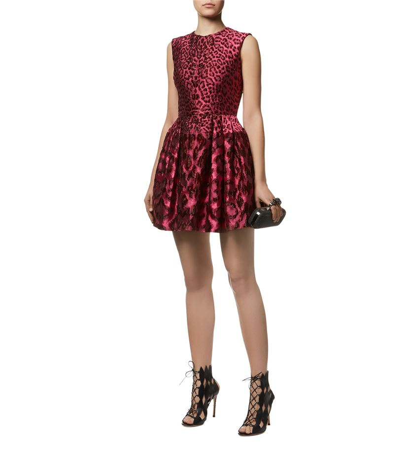 Alexander McQueen Leopard Jacquard Full Skirt Dress