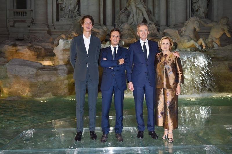 Alexandre Arnault, Pietro Beccari, Bernard Arnault and Silvia Venturini Fendi attend the Fendi Roma 90 Years Anniversary fashion show at Fontana di Trevi on July 7, 2016 in Rome, Italy