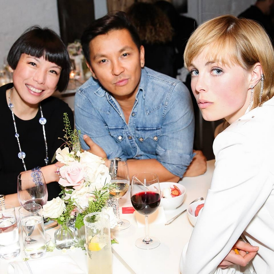 Angelica Cheung, Prabal Gurung and Edie Campbell celebrating the 2015 Blue Book in New York