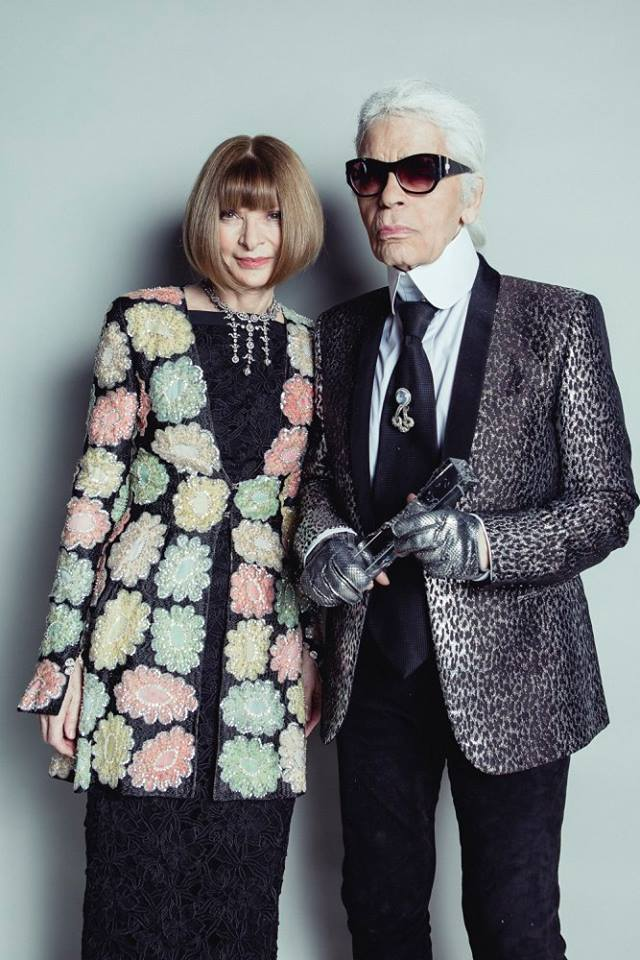 Anna Wintour OBE with Karl Lagerfeld - winner of the Outstanding Achievement Award