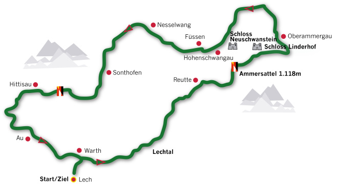 Arlberg Classic Car Rally gallery - 2luxury2-LAKES & CASTLES TOUR 2016 route map