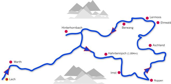 Arlberg Classic Car Rally gallery - 2luxury2-Tyrolean Loop 2016 route map