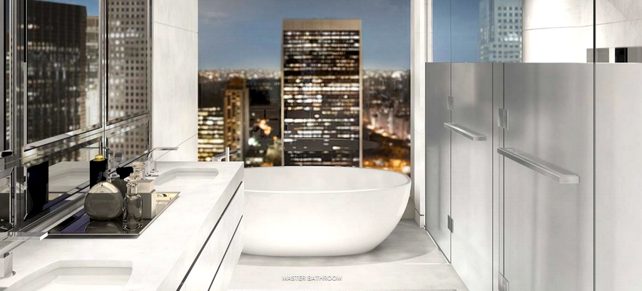 Baccarat Hotel & Residences New York  - master bathroom