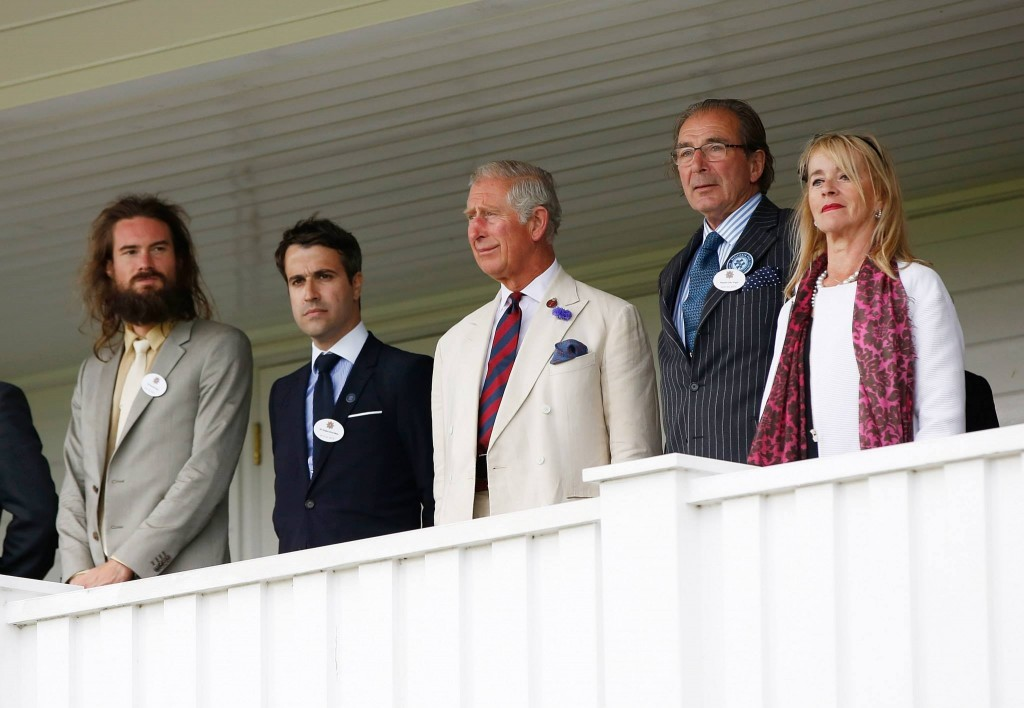 Barnabe Fillion Jacques-Henri Brive, HRH Prince Charles, Prince of Wales, Brigadier John Wright and Christiane Wright attends The Royal Salute Coronation Cup at Guards Polo Club i