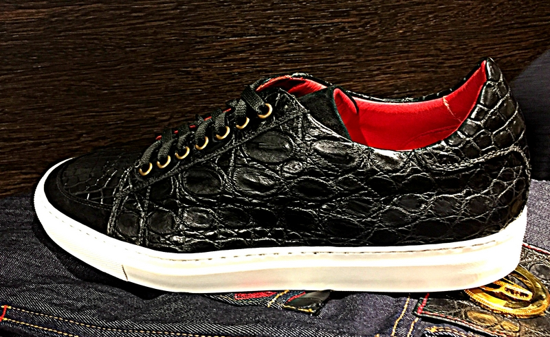 Bianca Mosca accessories made from ethically sourced exotic leathers - alligator sneakers