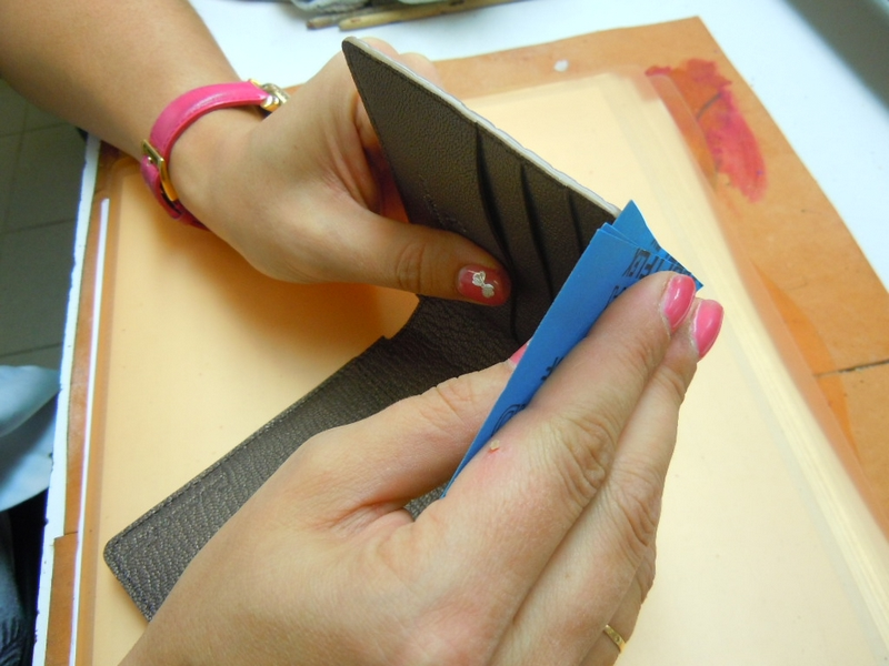 Bianca Mosca luxury alligator wallet in the making