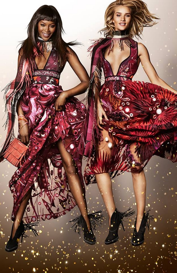 Campaign stars Naomi Campbell and Rosie Huntington-Whiteley for the Burberry festive campaign shot by Mario Testino