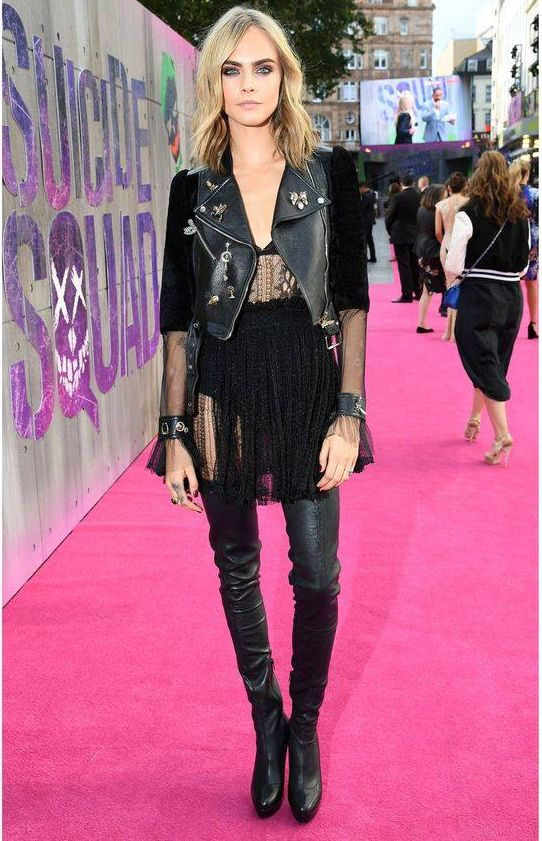 Cara Delevingne wearing Alexander McQueen at the Suicide Squad premiere in London