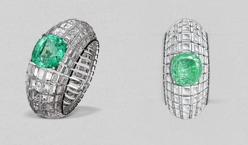 Cartier etourdissant  66.9-carat emerald glitters, set amongst rows of crystal