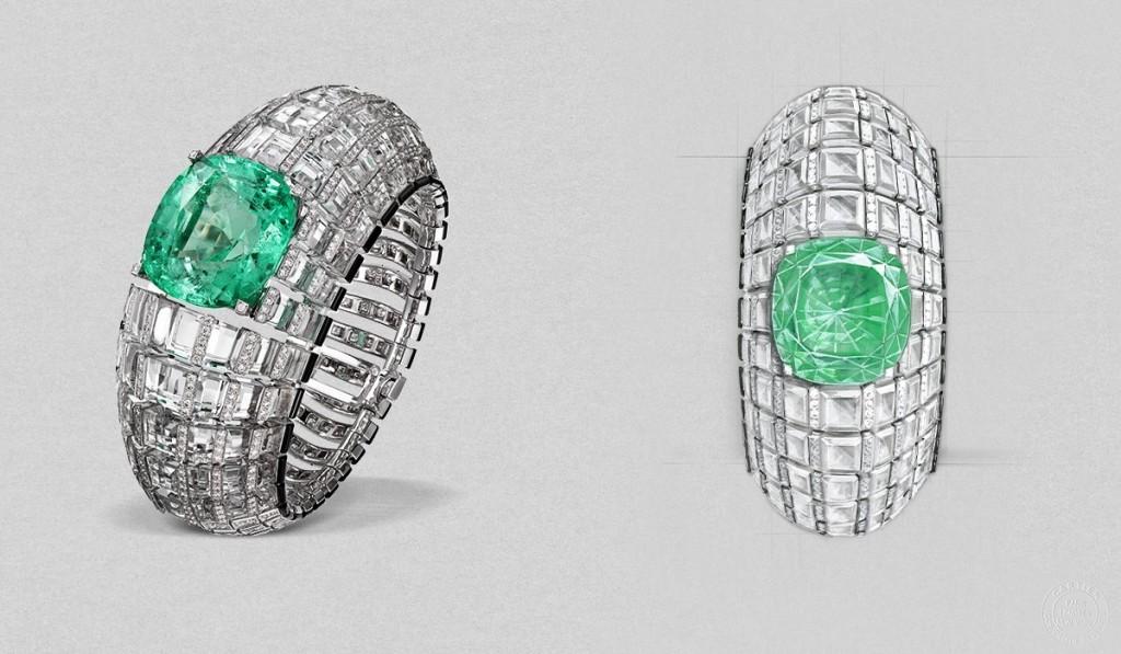 Cartier etourdissant  66.9-carat emerald glitters, set amongst rows of crystal