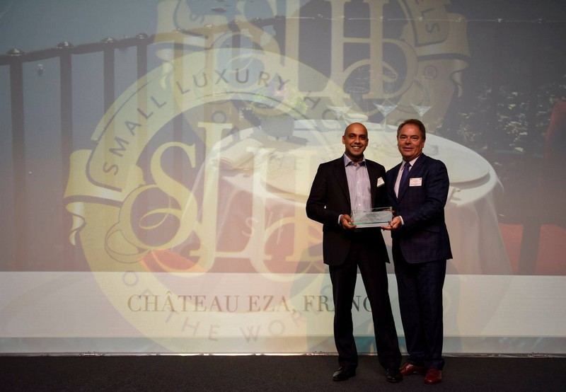 Château Eza in Eze Village, France - Best Hotel as voted by Travel Agents Small Luxury Hotels of the World- SLH Awards 2015-Robin Oodunt, General Manager with CEO for SLH, Filip Boyen