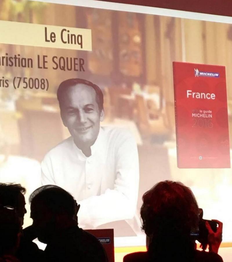 Chef Christian LE SQUER at Le Cinq-Michelin Guide 2016