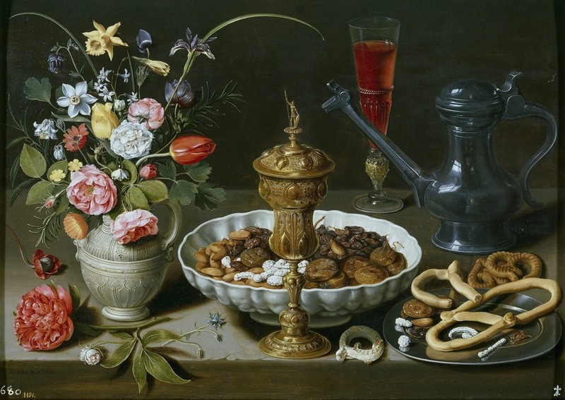 clara-peeterss-still-life-with-flowers-gilt-goblet-almonds-dried-fruits-sweets-biscuits-wine-and-a-pewter-flagon-1611