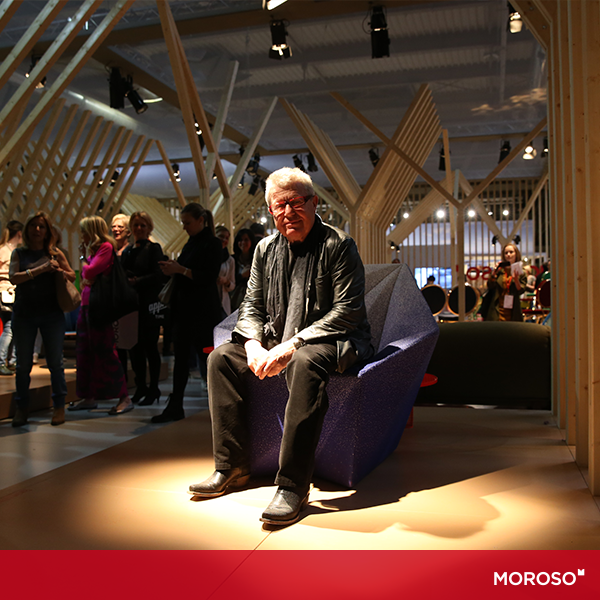Daniel Libeskind sitting on the Gemma armchair he designed for Moroso.
