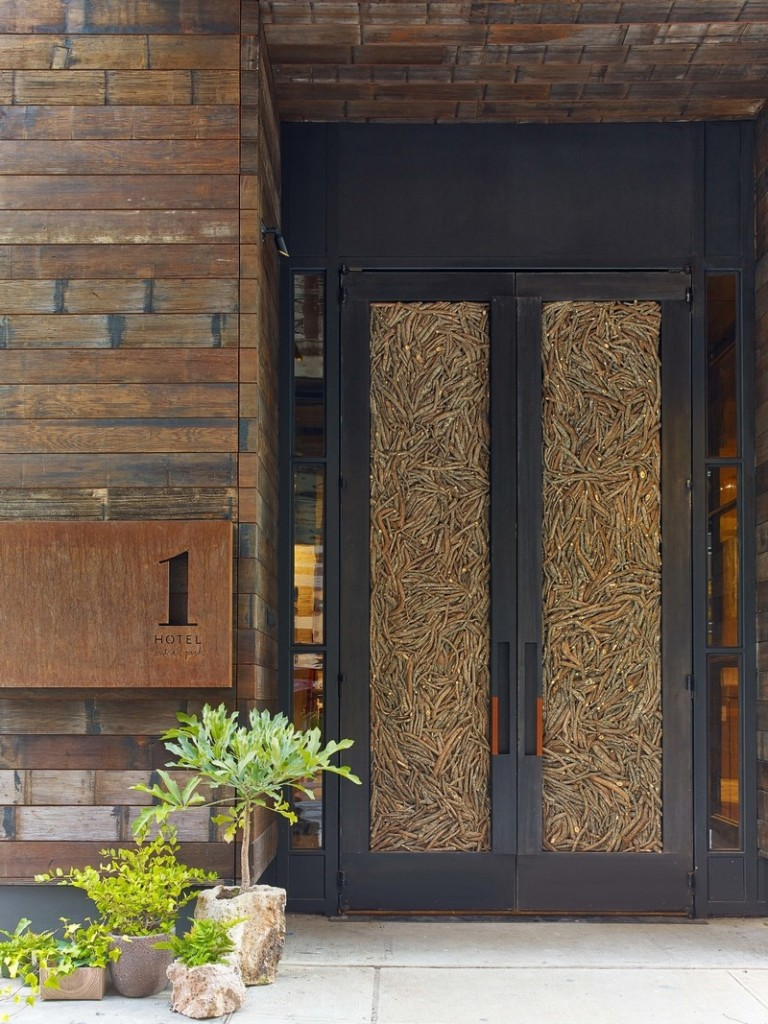 Doors made of 16,000 fallen twigs welcome guests to 1 Hotel Central Park