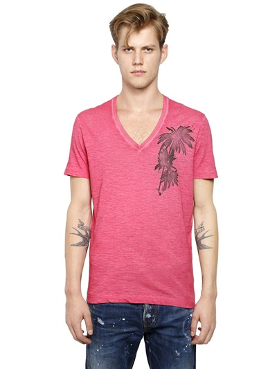 DsQuared FADED STRETCH COTTON BLEND T-SHIRT
