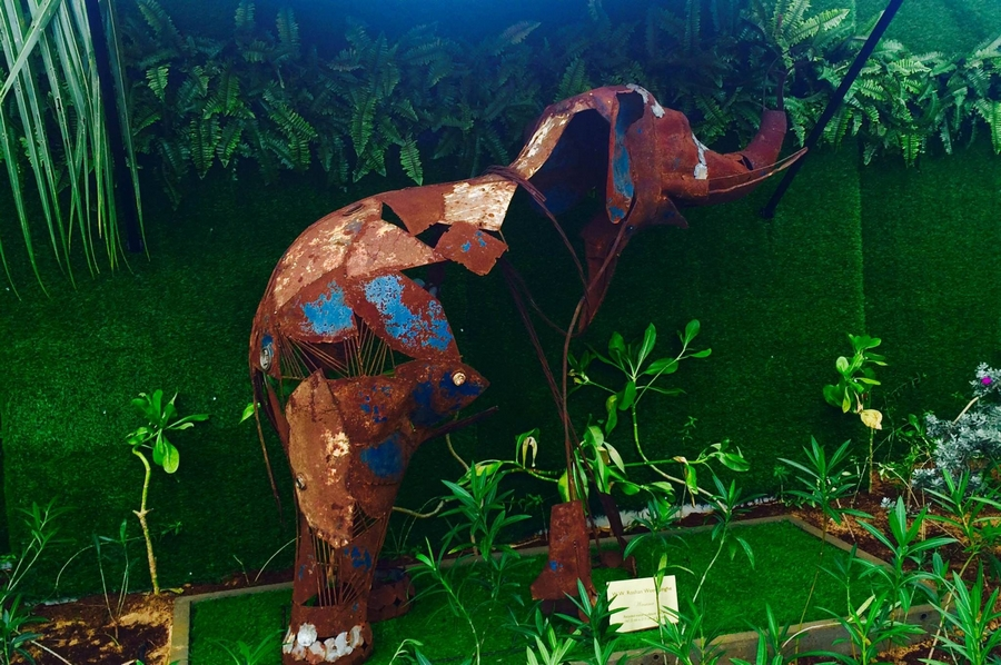 Elephant RUN Recycled sculptures - Wasana, made form discarded scrap metal by Roshan Weerasinghe