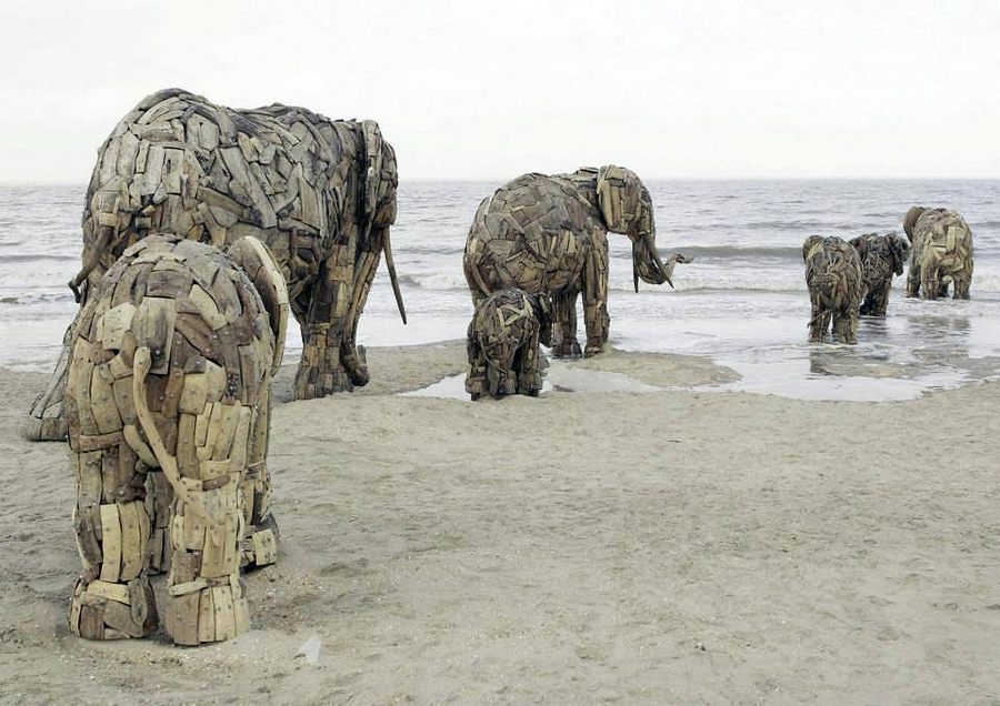 Elephant RUN Recycled wood