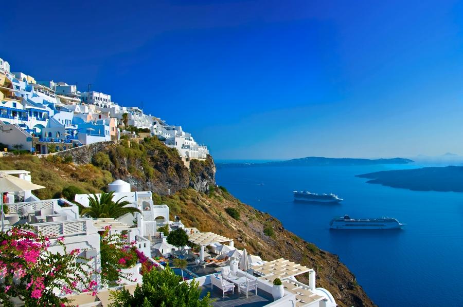 Europe_Greece_Santorini_View of Fira town with volcano_attraction_landmark_travel.jpg