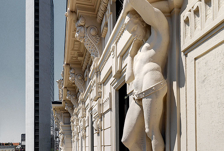 Excelsior Hotel Gallia, a Luxury Collection Hotel, Milan-renovation 2015-Hotel Façade Detail 2