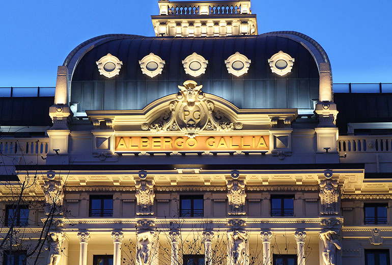 Excelsior Hotel Gallia, a Luxury Collection Hotel, Milan-renovation 2015-Hotel Façade by night