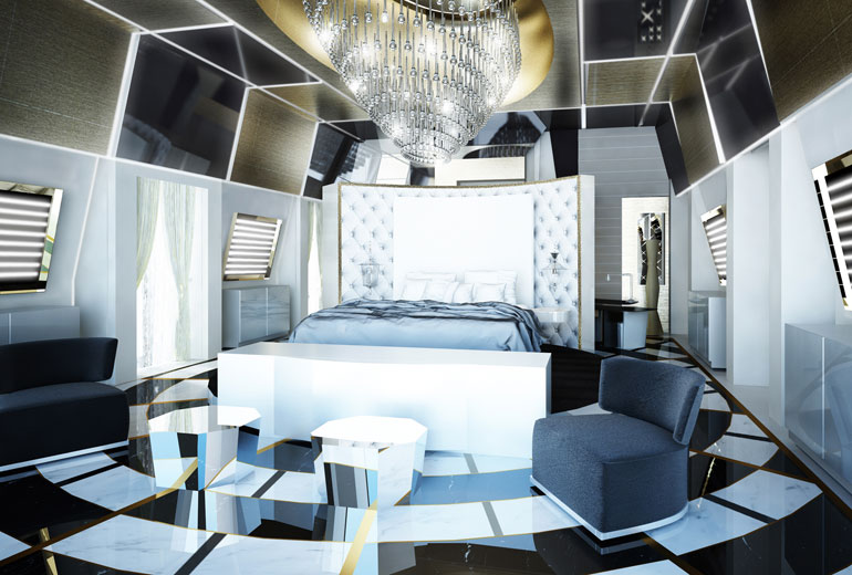 Excelsior Hotel Gallia, a Luxury Collection Hotel, Milan-renovation 2015-Katara Suite Bedroom - Rendering