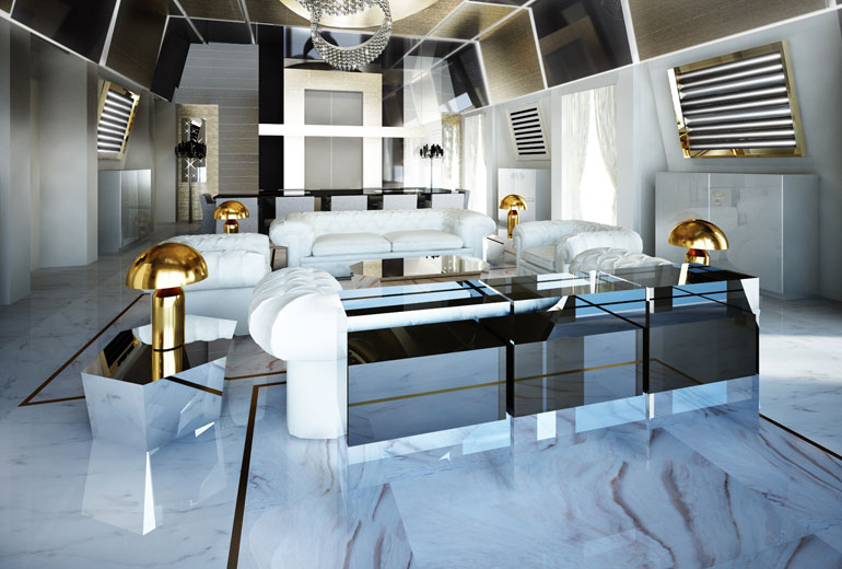 Excelsior Hotel Gallia, a Luxury Collection Hotel, Milan-renovation 2015-Katara Suite Living Room - Rendering 2