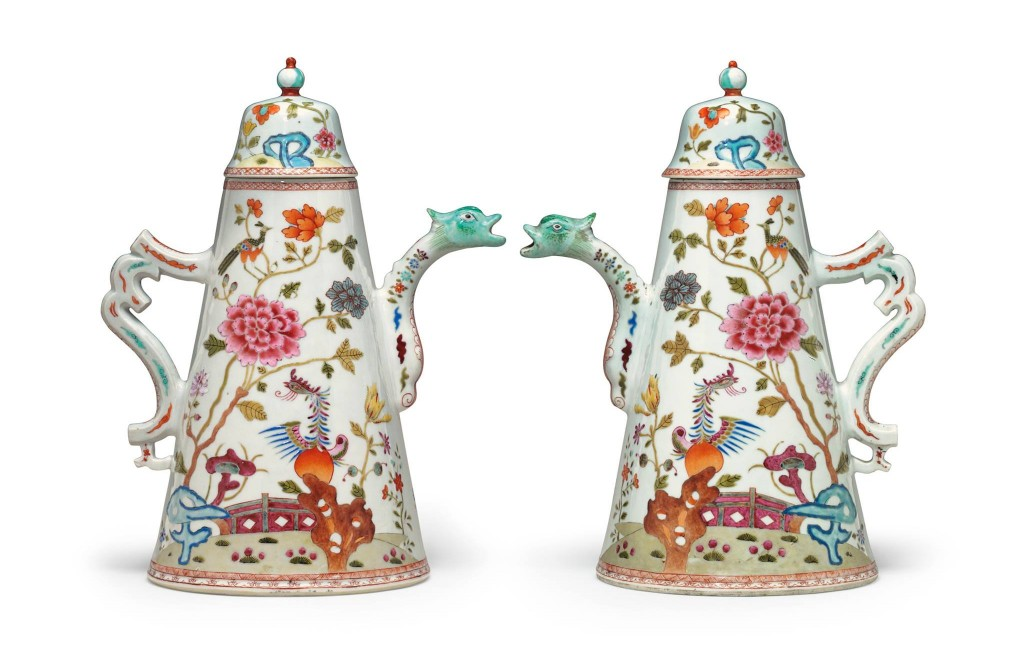 FAMILLE ROSE COFFEE-POTS AND COVERS