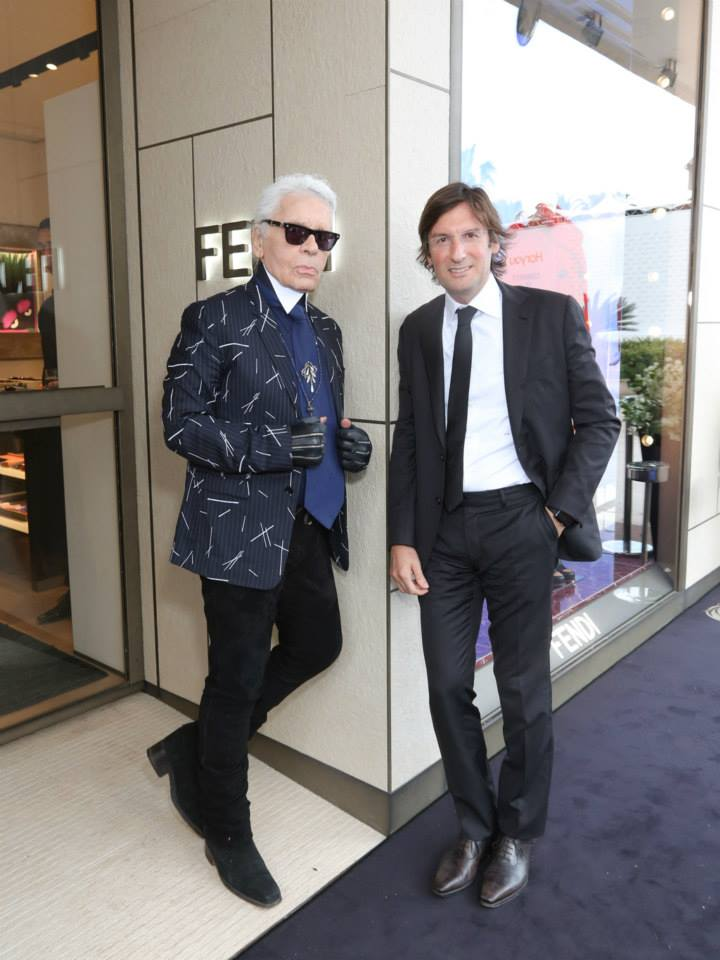 Fendi Womenswear Creative Director Karl Lagerfeld and Fendi CEO Pietro Beccari at the newly reopened Fendi boutique in Cannes