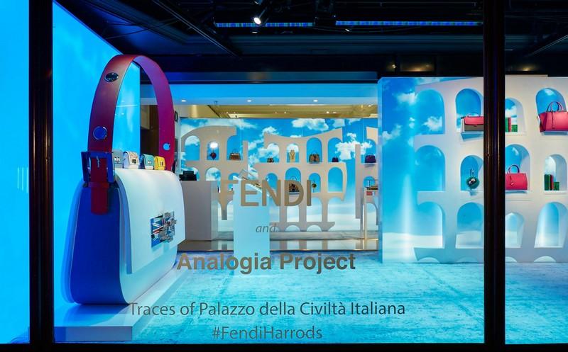Fendi at Harrods 2015 pop-up boutique- mirorring Palazzo della Civiltà Italiana headquarters in Rome