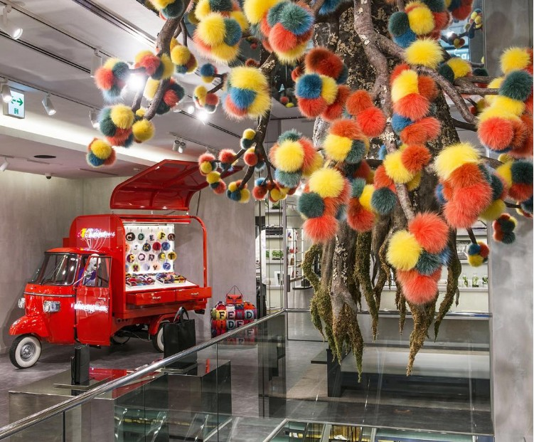 Fendi's Ape Piaggio transformed into a pop-up store - 2016-charms are growing on trees at our boutique in Ginza, Japan