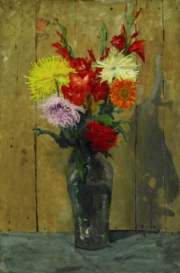 Flowers in a Green Glass Vase by Sir Winston Churchill