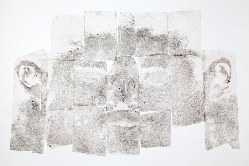 Francesca Piovesan, Volto, 2015 inastro adesivo, nitrato, d'argento, l'astre in vetro