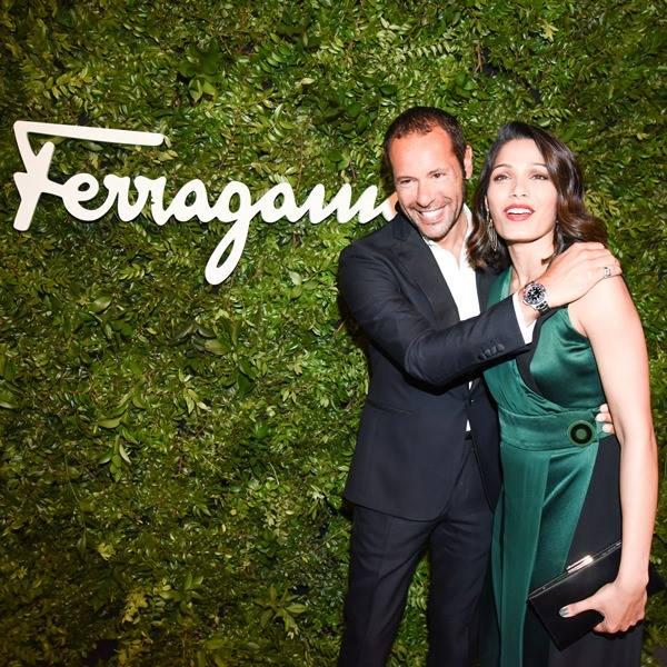 Freida Pinto wears Ferragamo with creative director Massimiliano Giornetti in Beverly Hills
