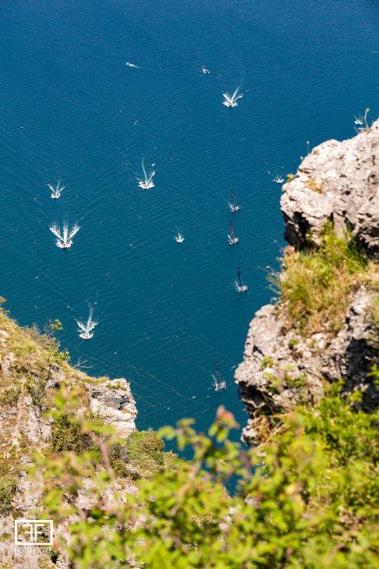GC32s racing on Lake Garda-aerial view