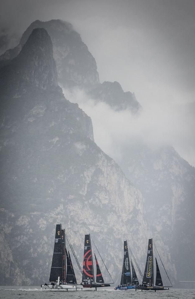 GC32s racing on Lake Garda in the rain-