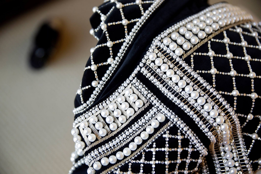 H&M Balmain 2015 - Olivier Rousteing  HMBalmaination -A detail shot of Kendall Jenner's pearl-embellished piece at Billboard Music Awards.