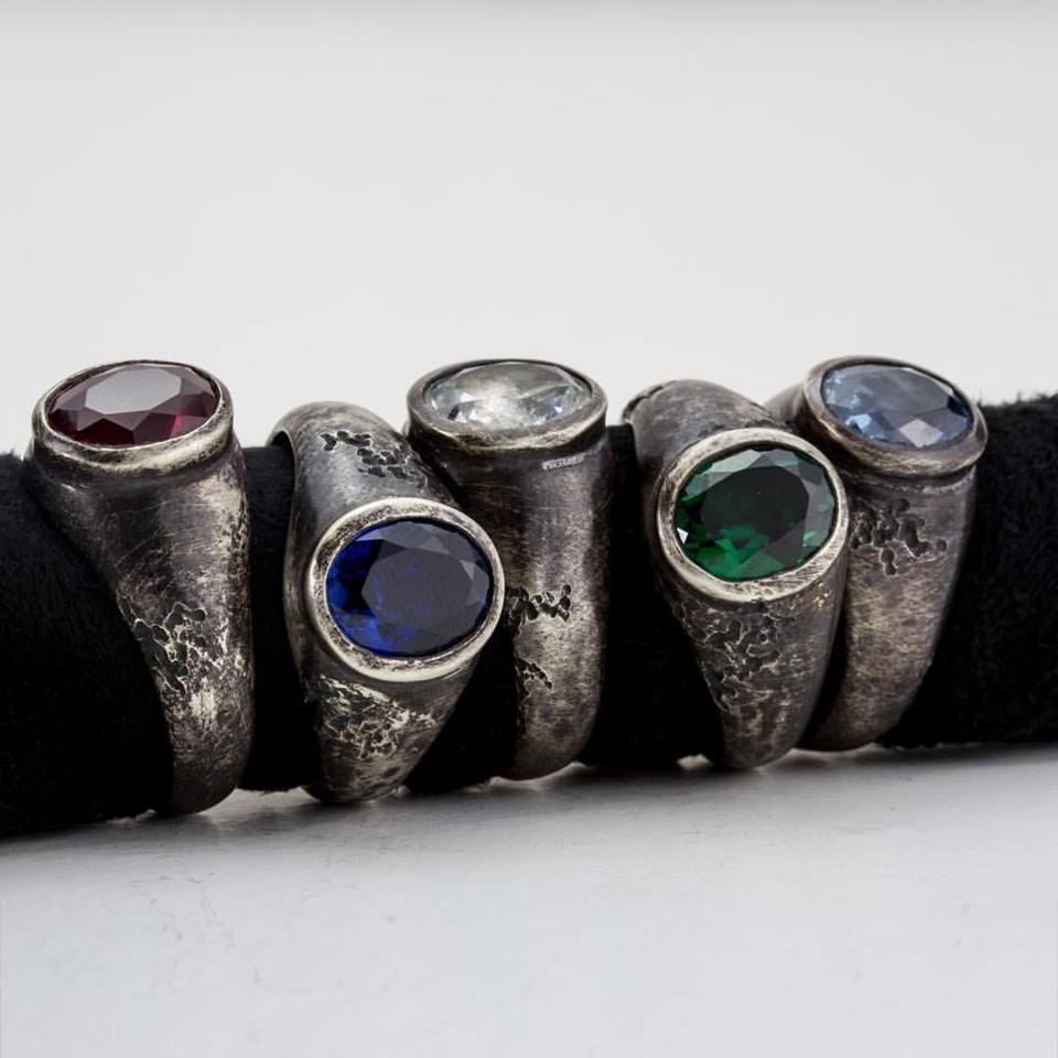 Hand carved and distressed jewel rings