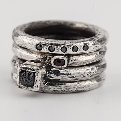 Henson -Hand carved rings with black diamonds , rubies and raw diamond cubes