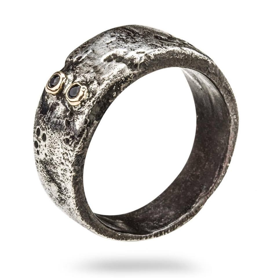 Henson weddin ring - Handmade and hand distressed band with two Australian Black Sapphires set in 9kt Gold