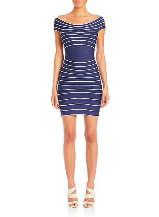Herve Leger_Vintage Collection_2015-- Off-the-shoulder Stripe Bandage Dress