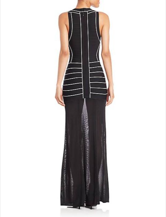 Herve Leger_Vintage Collection_2015-- V-neck Stripe Evening Gown-